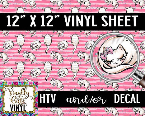 Pink Striped Kitty Vinyl ~ HTV or ADHESIVE DECAL
