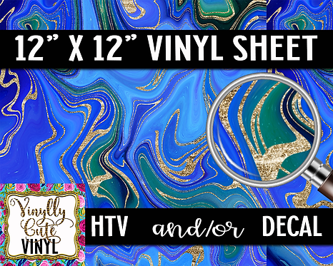 Blue Gold Swirls ~ HTV or ADHESIVE DECAL