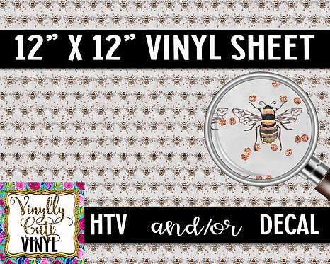 Grey Bee ~ HTV or ADHESIVE DECAL