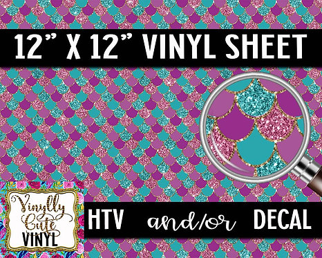 Purple and Turquoise Mermaid Vinyl ~ HTV or ADHESIVE DECAL