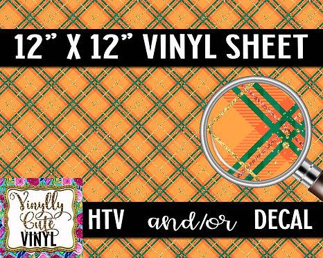 Patty Orange Plaid Vinyl ~ HTV or ADHESIVE DECAL