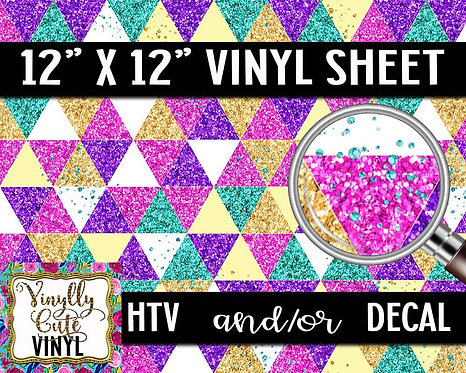 Glitter Triangle Vinyl ~ HTV or ADHESIVE DECAL
