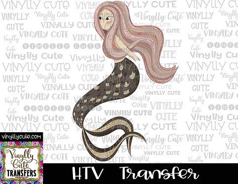 Rose Colored Mermaid ~ HTV Transfer
