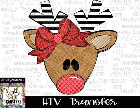 Reindeer Girl With Bow And Polka Dot Nose ~ HTV Transfer ~ Christmas