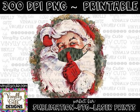 DIGITAL -  Christmas Masked Vintage Santa