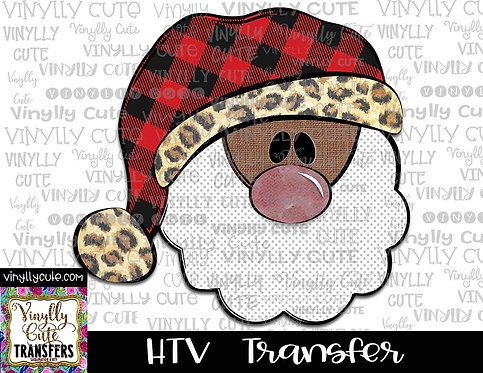 Santa With Buffalo Plaid and Leopard Trim Hat 2 ~ HTV Transfer ~ Christmas