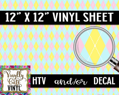 Pink Lemonade Argyle Vinyl ~ HTV or ADHESIVE DECAL