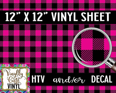 Pink Buffalo Plaid Vinyl ~ HTV or ADHESIVE DECAL
