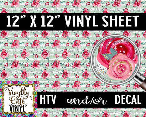 Mint Floral Vinyl ~ HTV or ADHESIVE DECAL