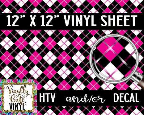 Girly Plaid Vinyl ~ HTV or ADHESIVE DECAL