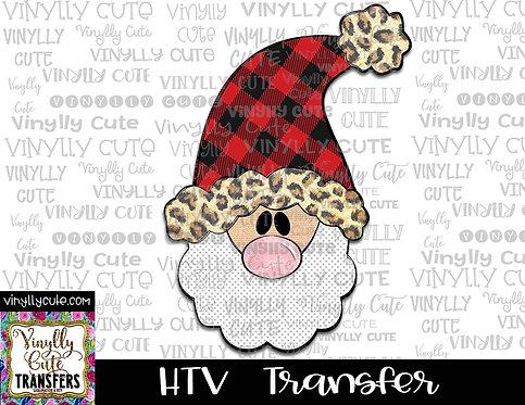 Tall Santa With Buffalo Plaid and Leopard Trim Hat ~ HTV Transfer ~ Christmas