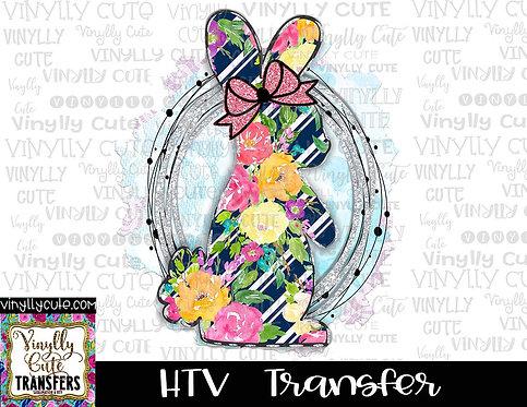 Preppy Floral Bunny ~ HTV Transfer ~ Easter