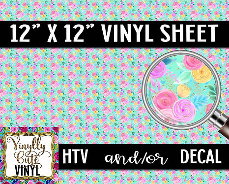 Bright Floral ~ HTV or ADHESIVE DECAL