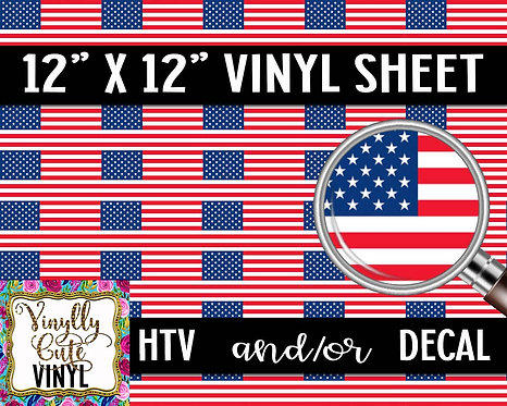 American Flag Vinyl ~ HTV or ADHESIVE DECAL