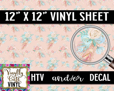 Boho Peach Floral Vinyl ~ HTV or ADHESIVE DECAL