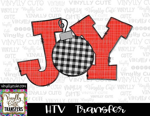 Joy - Red, Black and White Plaid ~ HTV Transfer ~ Christmas