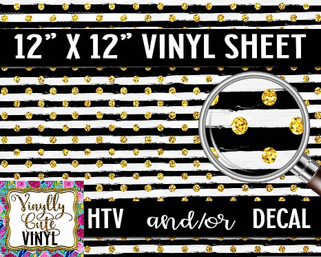 Black and White Striped Dots Vinyl ~ HTV or ADHESIVE DECAL