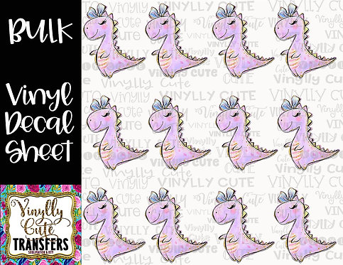 BULK ~ Girly Dinosaur ~ Vinyl Decal Sticker Sheet