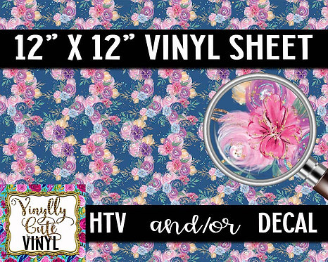 Navy Floral Line Vinyl ~ HTV or ADHESIVE DECAL