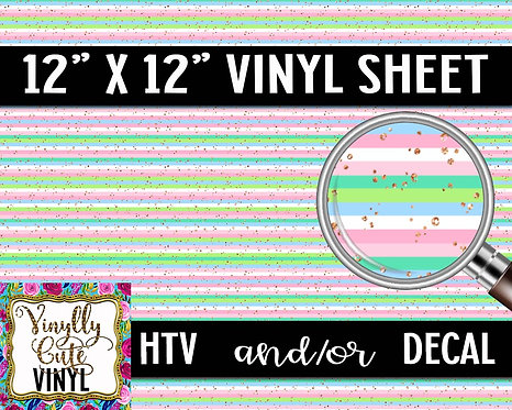 Pastel Glitter Stripe ~ HTV or ADHESIVE DECAL