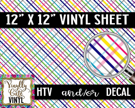 Rainbow Plaid Vinyl ~ HTV or ADHESIVE DECAL