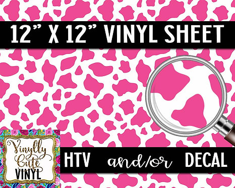 Pink Cow Vinyl ~ HTV or ADHESIVE DECAL