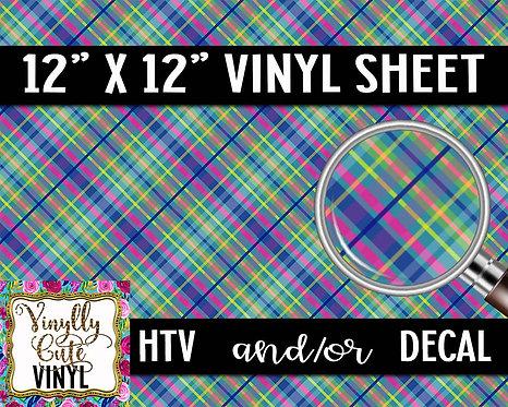 Bright Plaid Vinyl ~ HTV or ADHESIVE DECAL