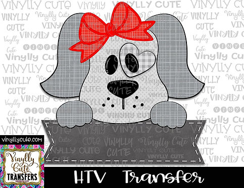 Grey Girl Puppy with Nameplate ~ HTV Transfer ~ Valentine's Day