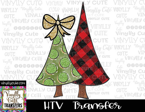 Buffalo Plaid and Green Polka Dot Tree Duo with Bow ~ HTV Transfer ~ Christmas