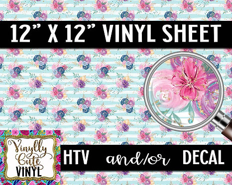 Blue Striped Floral Vinyl ~ HTV or ADHESIVE DECAL