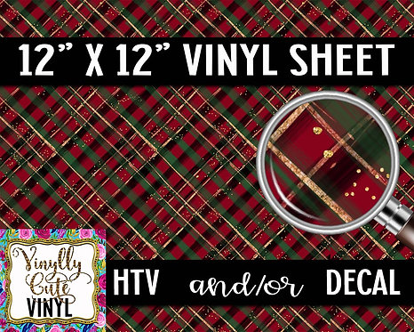 Christmas Plaid Red ~ HTV or ADHESIVE DECAL
