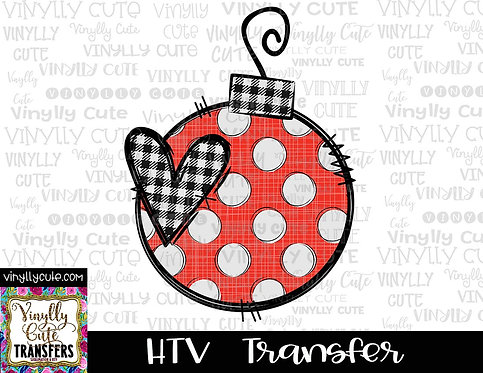 Christmas Bauble - Red, Black and White Plaid Ornament ~ HTV Transfer