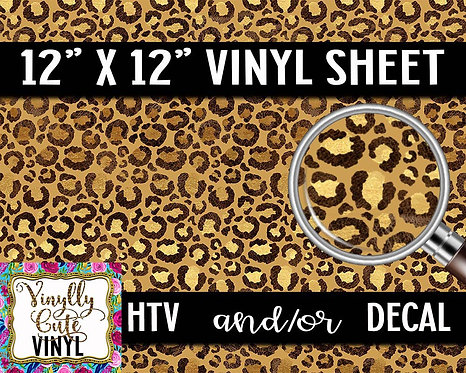 Golden Leopard Vinyl ~ HTV or ADHESIVE DECAL