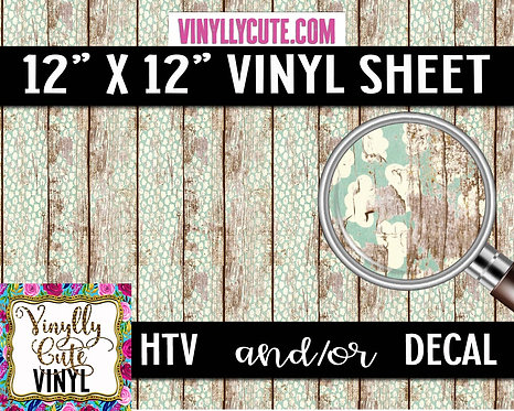 Weathered Wallpaper On Wood ~ HTV or ADHESIVE DECAL VINYL
