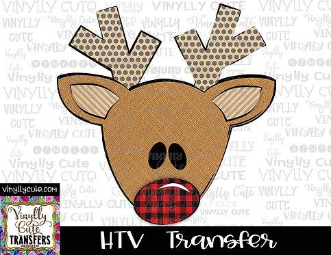 Reindeer With Buffalo Plaid Nose ~ HTV Transfer ~ Christmas