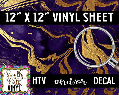 Purple Gold Marble Vinyl ~ HTV or ADHESIVE DECAL