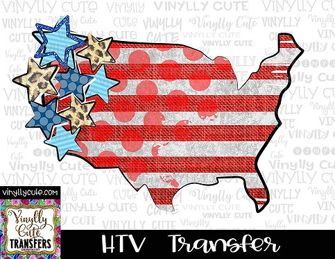 USA Stars and Stripes ~ HTV Transfer ~ July 4th