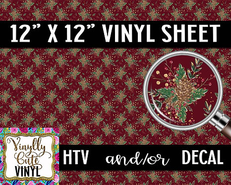 Holly Pinecones ~ HTV or ADHESIVE DECAL