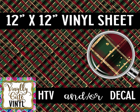 Christmas Plaid Green ~ HTV or ADHESIVE DECAL