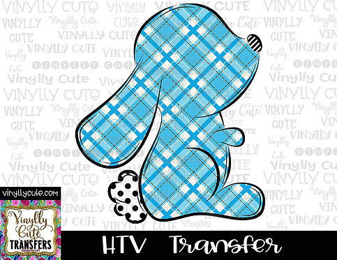 Boy ~ Blue Plaid Bunny Silhouette ~ HTV Transfer ~ Easter