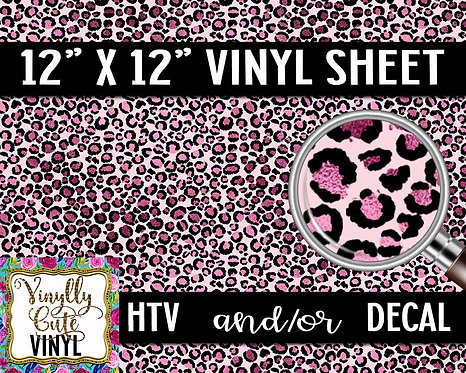 Pink Leopard Vinyl ~ HTV or ADHESIVE DECAL