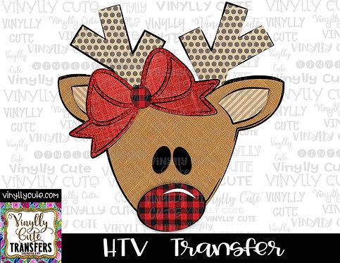 Reindeer Girl With Bow And Buffalo Plaid Nose ~ HTV Transfer ~ Christmas
