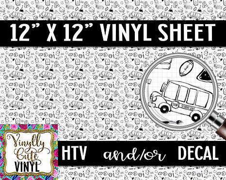School Graph Paper Vinyl ~ HTV or ADHESIVE DECAL