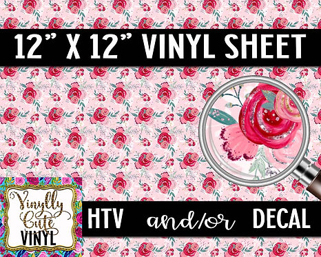 Floral Love Vinyl ~ HTV or ADHESIVE DECAL