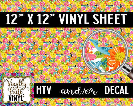 Summer Floral Mix ~ HTV or ADHESIVE DECAL