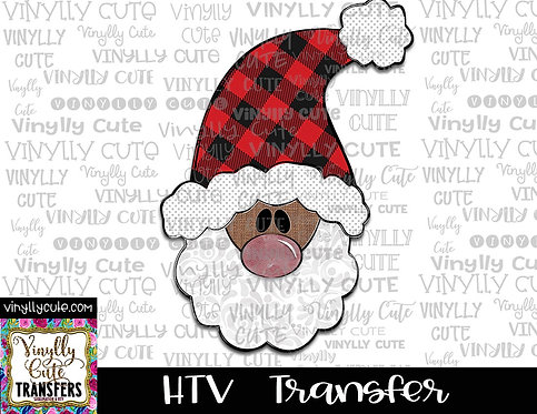 Tall Santa With Buffalo Plaid  Hat 2 ~ HTV Transfer ~ Christmas