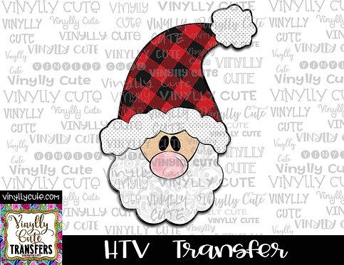 Tall Santa With Buffalo Plaid  Hat  ~ HTV Transfer ~ Christmas
