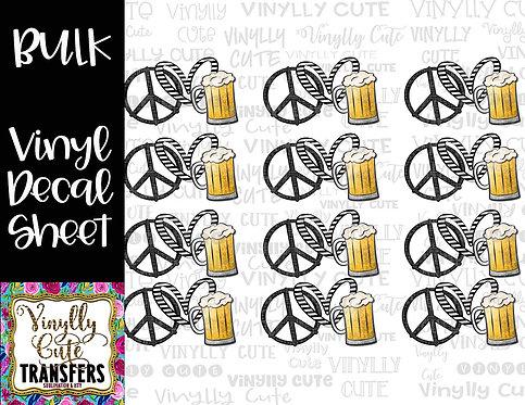 BULK ~ Peace Love Beer ~ Vinyl Decal Sticker Sheet
