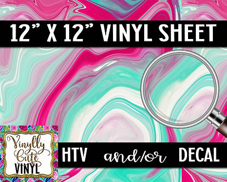 Minty Pink Swirls ~ HTV or ADHESIVE DECAL