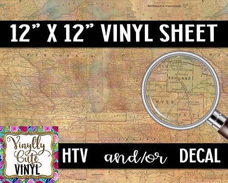Vintage Map Vinyl ~ HTV or ADHESIVE DECAL